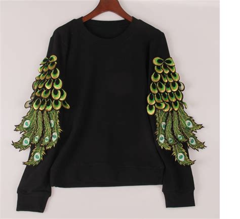feather pattern hoodies peacock feathers sequined hoodies sweatshirt uniqistic com