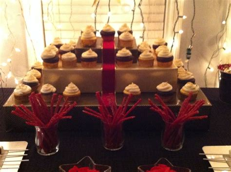 party themes red carpet nate s hollywood theme party red carpet cupcake tower