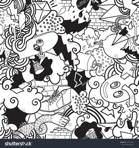 colour doodle drawing board seamless pattern graffiti doodles stock vector