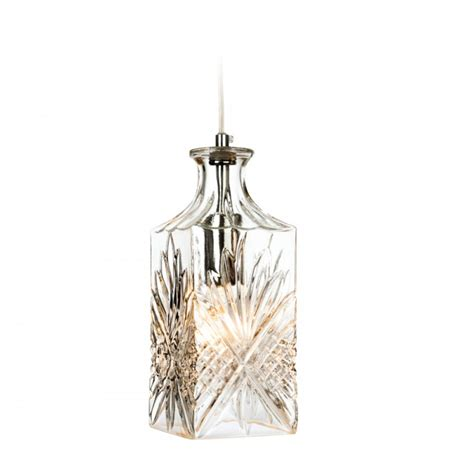 Decorative Pendant Lights Firstlight Decanter Ceiling Pendant Light In Chrome And Decorative Glass
