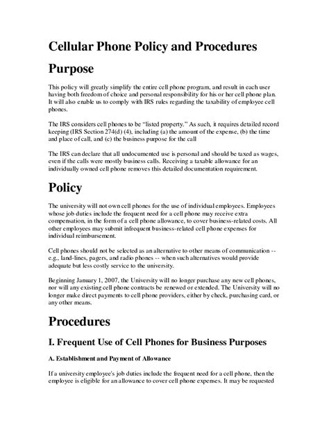 mobile phone policy template free printable cell phone policy form generic
