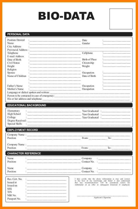 personal biography exles for students 8 student personal biodata form lease template