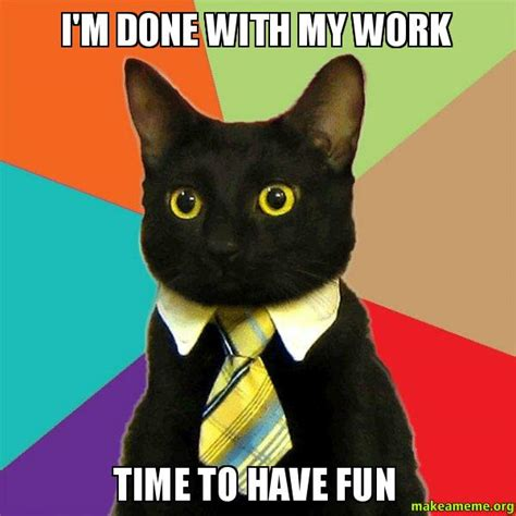 Have Fun Meme - i m done with my work time to have fun business cat