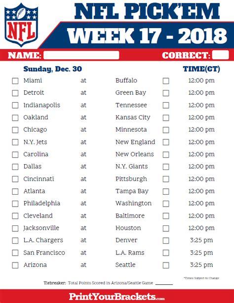 Msu Weekend Mba Schedule by Central Time Week 17 Nfl Schedule 2018 Printable