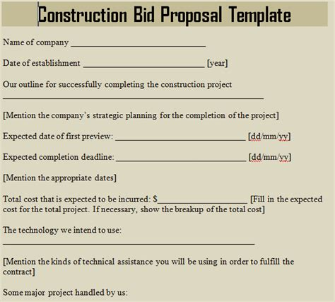 Construction Bid Proposal Template Microsoft Excel Templates Construction Bid Template