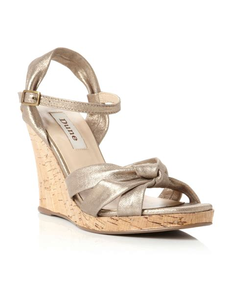 gold wedge sandals dune garrison ankle wedge sandals in gold lyst