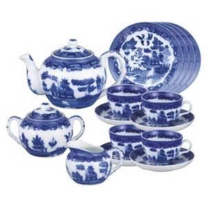 blue willow porcelain tea set