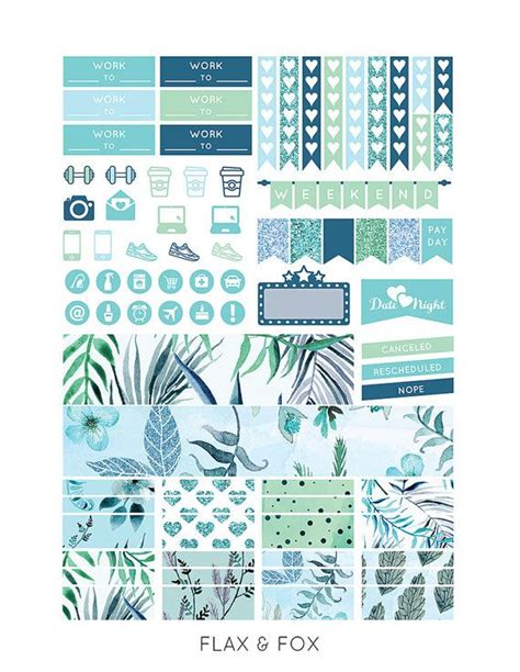 printable stickers erin condren printable turquoise floral planner stickers for the erin