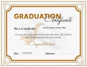 College Graduation Certificate Template by Graduation Certificate Templates For Ms Word