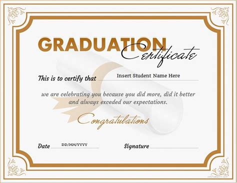 certificate of graduation template graduation certificate templates for ms word
