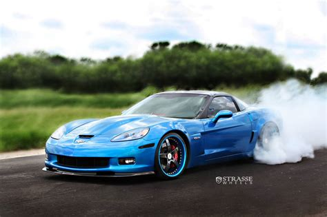 blue corvette jetstream blue chevrolet corvette z06 with strasse wheels