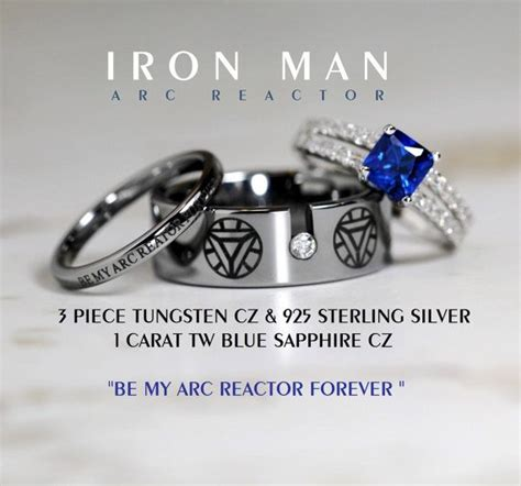 iron man wedding ring set iron man tungsten and 925 sterling silver 1 by