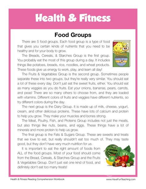 reading comprehension test about food reading comprehension worksheet food groups