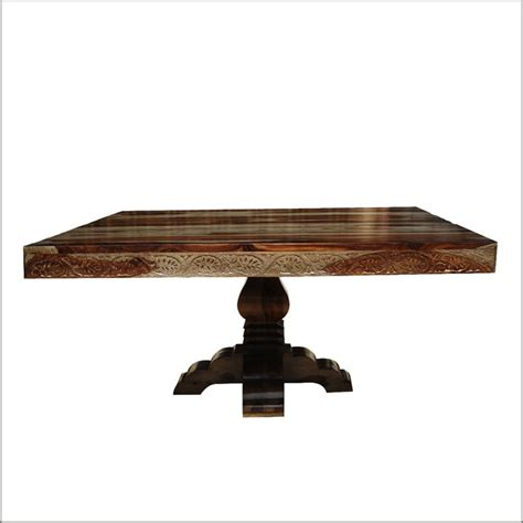 Square Pedestal Dining Table For 8 54 Quot Rustic Solid Wood Carved Pedestal Square Dining Table For 8 Traditional