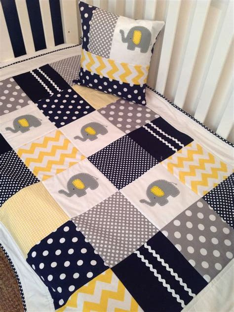 Navy And Gray Quilt Elephant Crib Quilt In Navy Gray And Yellow By