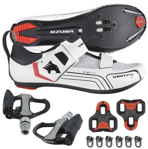 triathlon bike pedals and shoes venzo cycling bicycle bike triathlon shoes with pedals for