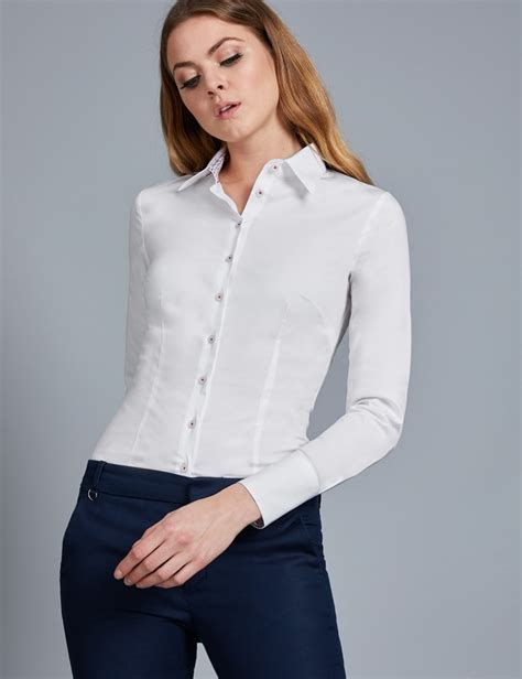 White Shirt Womens by S White Fitted Stretch Shirt With Contrast Detail Single Cuff Hawes Curtis