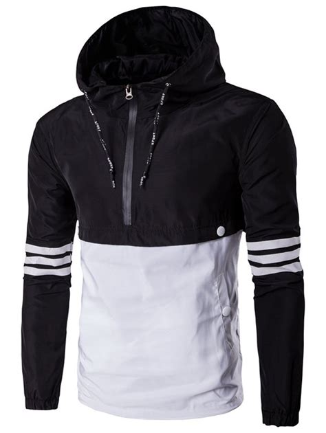 design of half jacket hooded half zip drawstring design varsity stripe jacket in