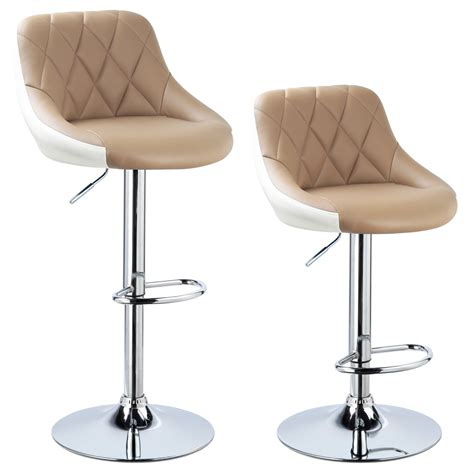 Leather Swivel Bar Stools With Backs by 2 X Bar Stools Faux Leather Breakfast Kitchen Swivel Stool