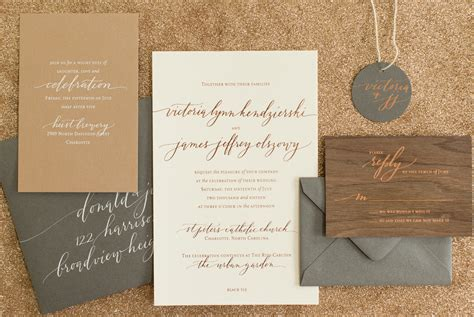 Wedding Invitations In Az by Rustic Boho Wood And Copper Foil Wedding Invitations