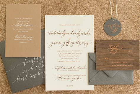 Rustic Boho Wood and Copper Foil Wedding Invitations