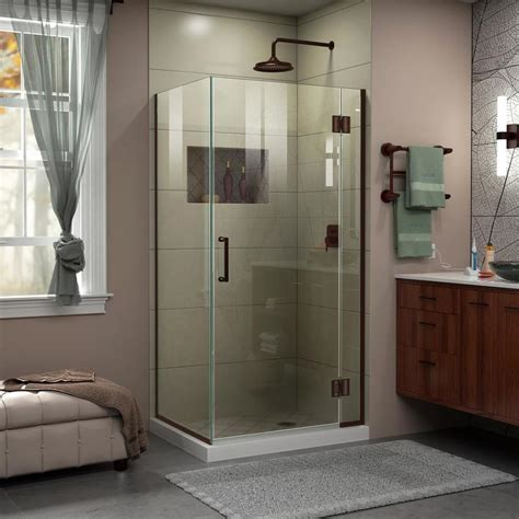 Dreamline Frameless Shower Doors Shop Dreamline Unidoor X 36 375 In To 36 375 In W Frameless Rubbed Bronze Hinged Shower Door