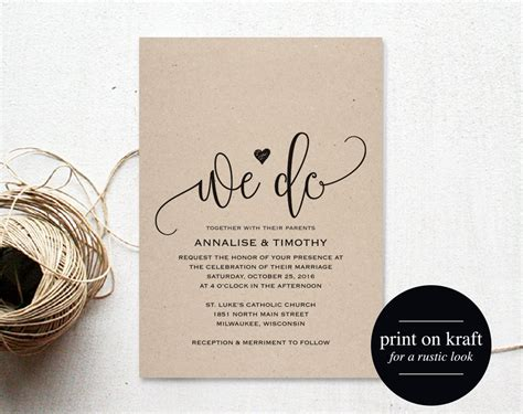 wedding invitation wording sles templates we do wedding invitation template rustic kraft invitation