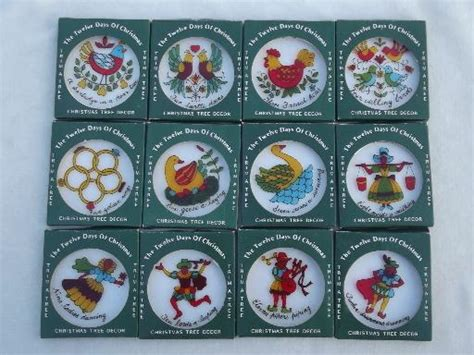 vintage hong kong plastic tree ornaments set twelve days