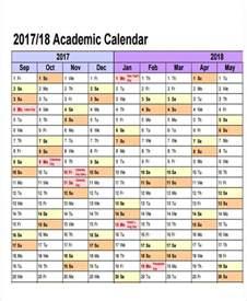 Academic Calendar Sle Academic Calendar Printable 2017 2018 Academic