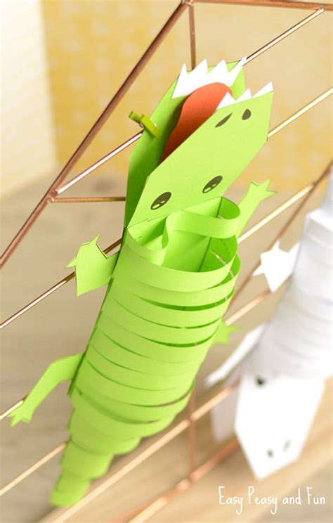 And Craft For With Paper - paper crocodile craft easy peasy and