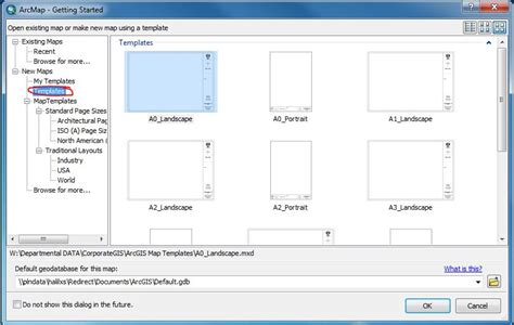 landscape layout view arcmap arcgis desktop change default quot my template quot directory