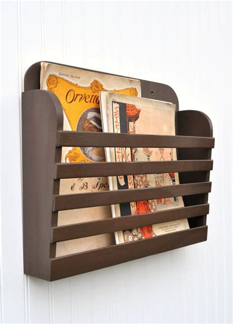 design magazine vintage rustic hanging magazine file holder solid chocolate coffee
