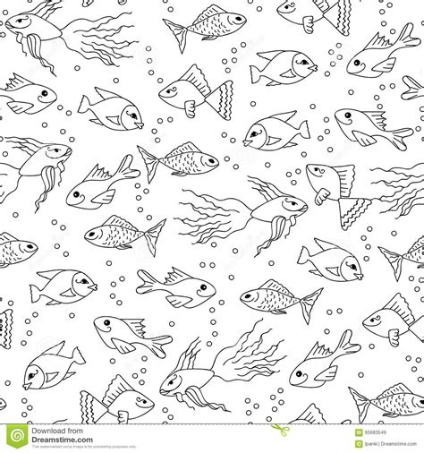 hand drawn fish in water seamless pattern for