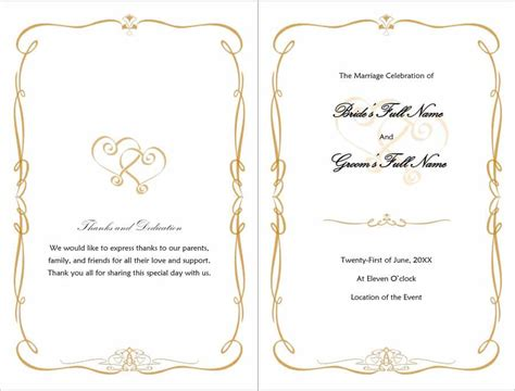 37 Printable Wedding Program Exles Templates Template Lab Program Template