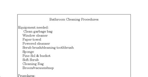 bathroom cleaning procedure her organized life create cleaning procedures for each room
