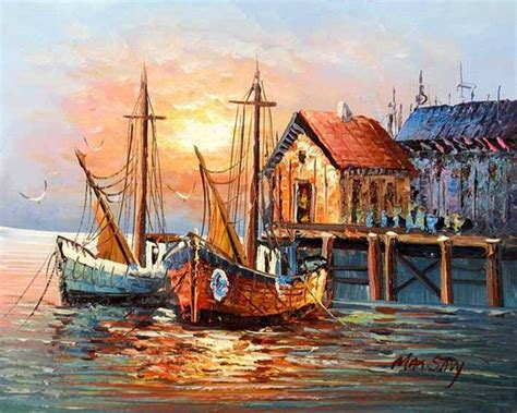 boat canvas new jersey paintings of boats in harbor old spanish harbor boats