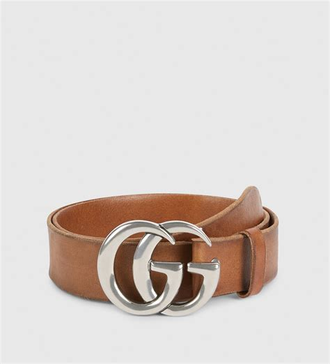 gucci leather belt with g buckle in brown for