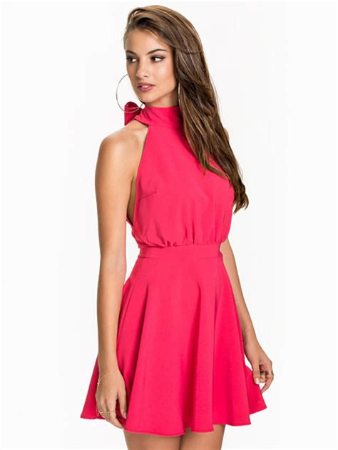 Nelly Dress 1 turtle neck skater dress nly one raspberry dresses clothing nelly uk