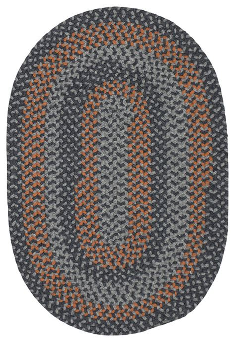 Orange Braided Rug by Walden Wn43 Charcoal And Orange Braided Rug Farmhouse