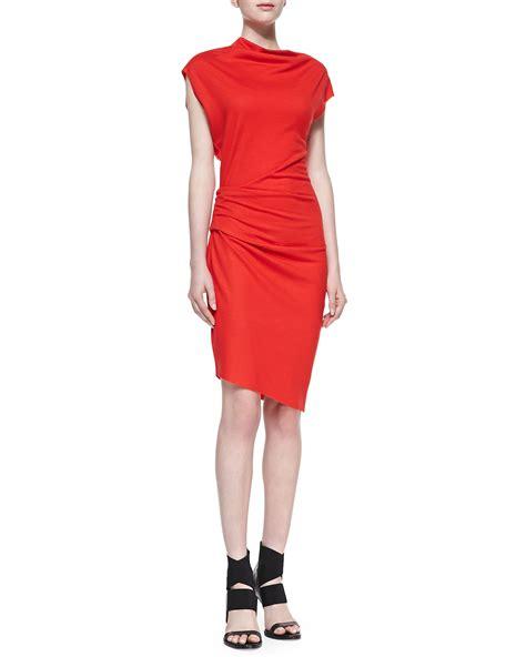 Simple Asimetris Knitt Dress helmut lang sonar knit asymmetric gathered dress in vein lyst
