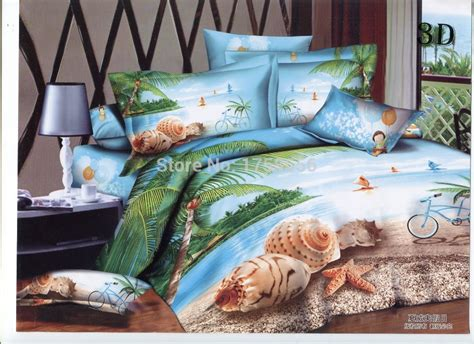 3d Hawaiian Vacation Bedding Sets Queen Size Cotton Bed Hawaiian Print Bedding Sets