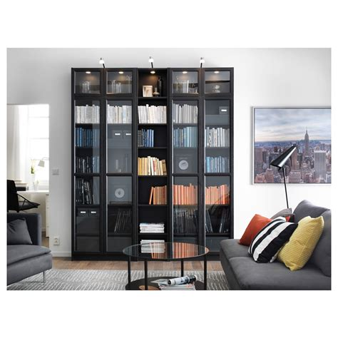 ikea blue billy bookcase billy oxberg bookcase black brown 200x237x30 cm ikea