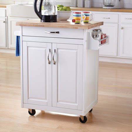 mainstays kitchen island cart white walmart
