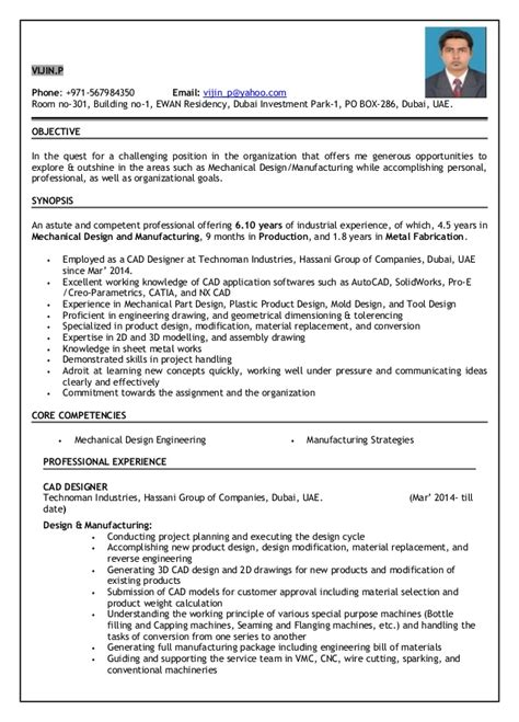 Tooling Design Engineer Sle Resume by Resume For Mechanical Engineer With Experience 28 Images Mechanical Engineer Sle Resume Sle