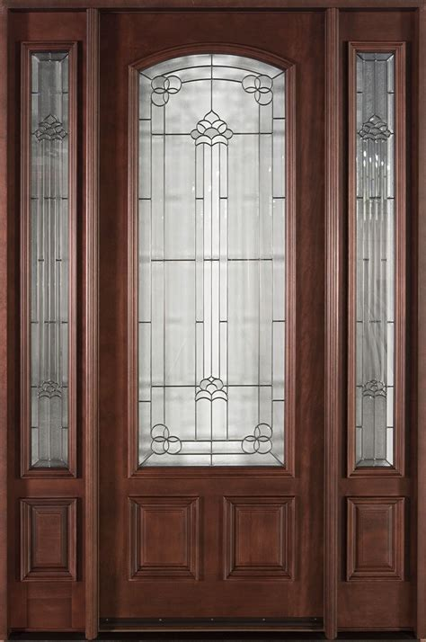 Front Door Custom Single With 2 Sidelites Solid Wood Mahogany Front Doors