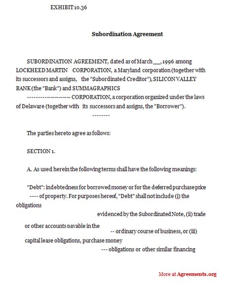subordination agreement template subordination agreement sle subordination