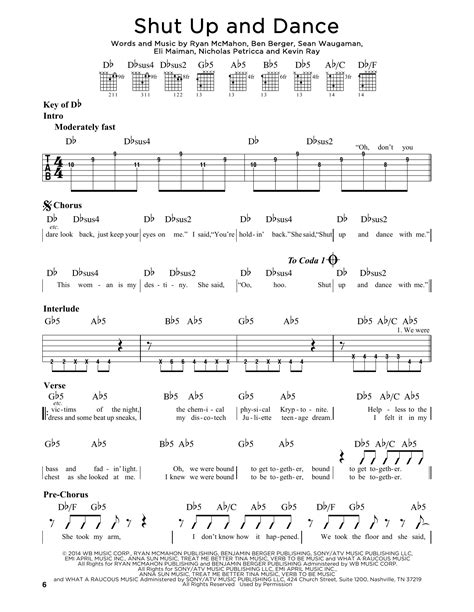 Shut Up And Dance Noten | Walk The Moon | Gitarren-Leadsheet