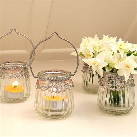 clear tea light holders hanging glass tea light holder by red lilly