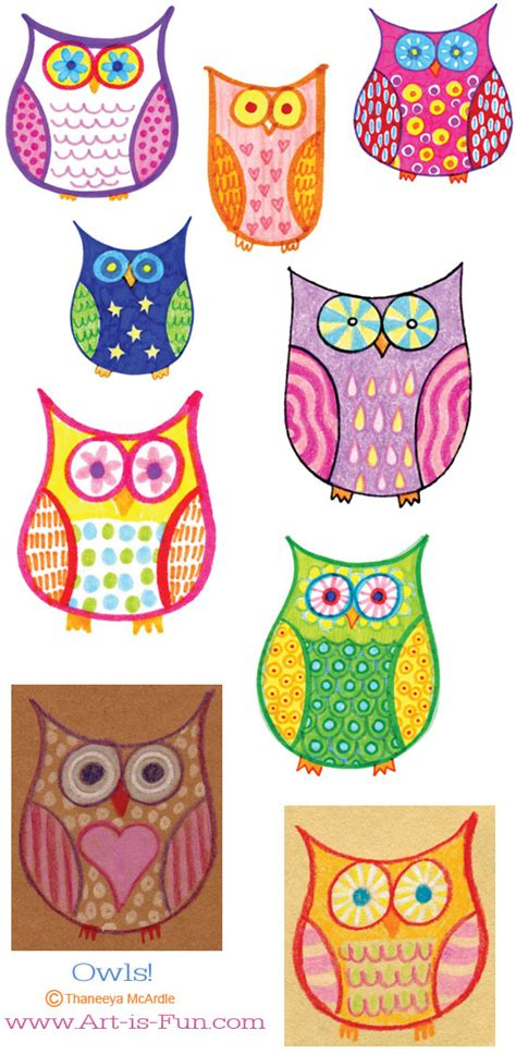 pattern owls art lesson how to draw an owl learn to draw a cute colorful owl in