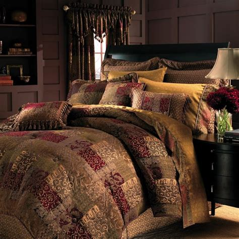 Matching Comforter And Curtain Sets by Galleria Red Patchwork Bedding Ensemble By Croscill